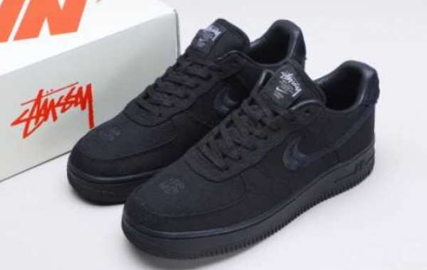 "Best Selling Stussy x Nike Air Force 1 Low ""Triple Black"" CZ9084-001"