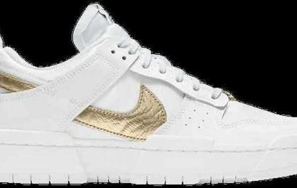 DD9676-100 Nike Dunk Low Disrupt White Metallic Gold